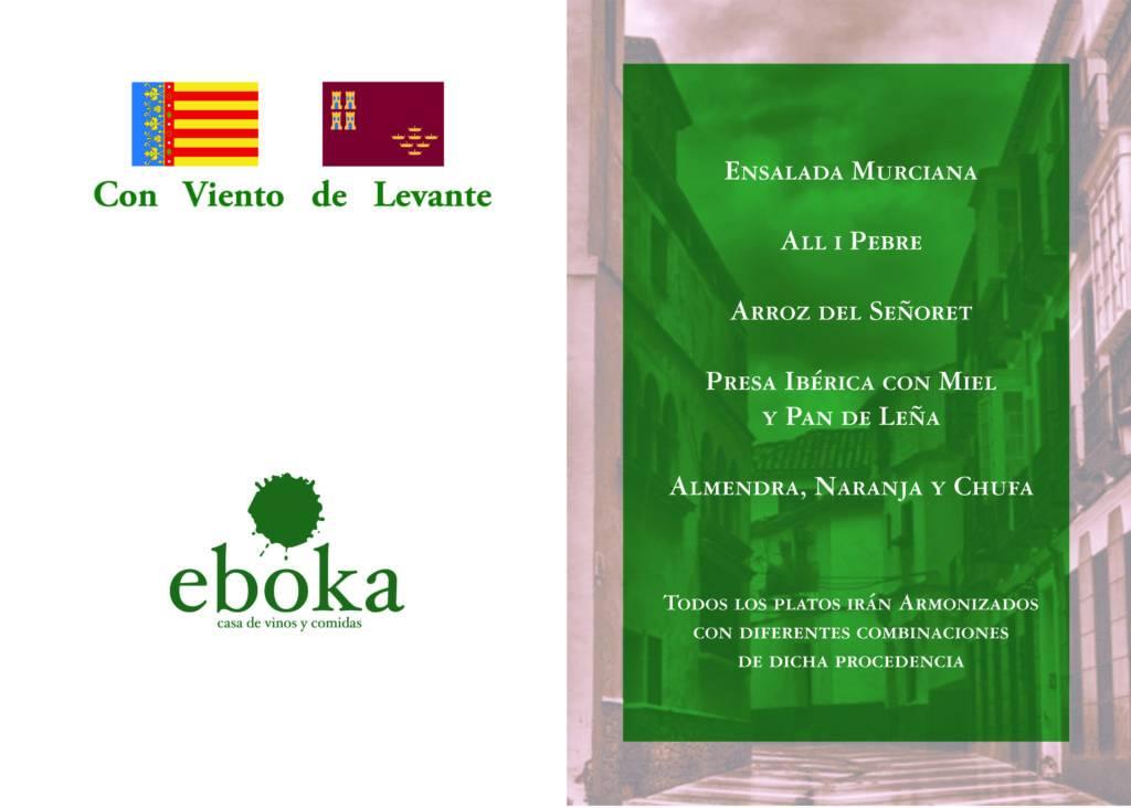 """Menú """"Con viento de Levante"""" de la Sociedad Gastronómica Eboka"""