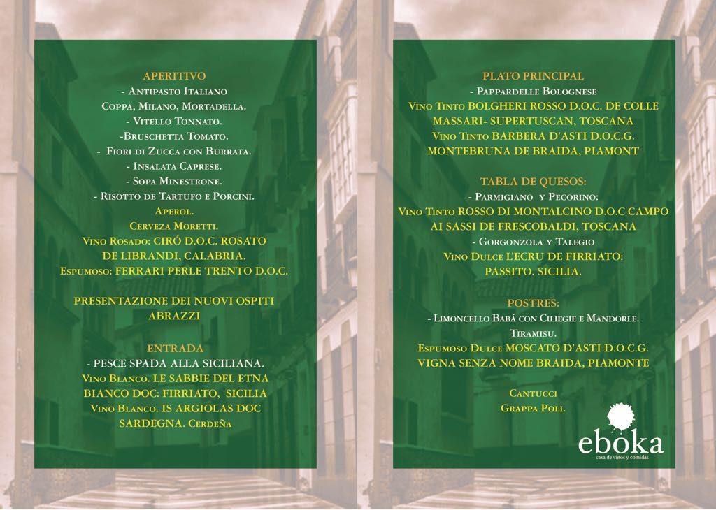 Menu Viaje a Italia en la Sociedad Gastronomica Eboka