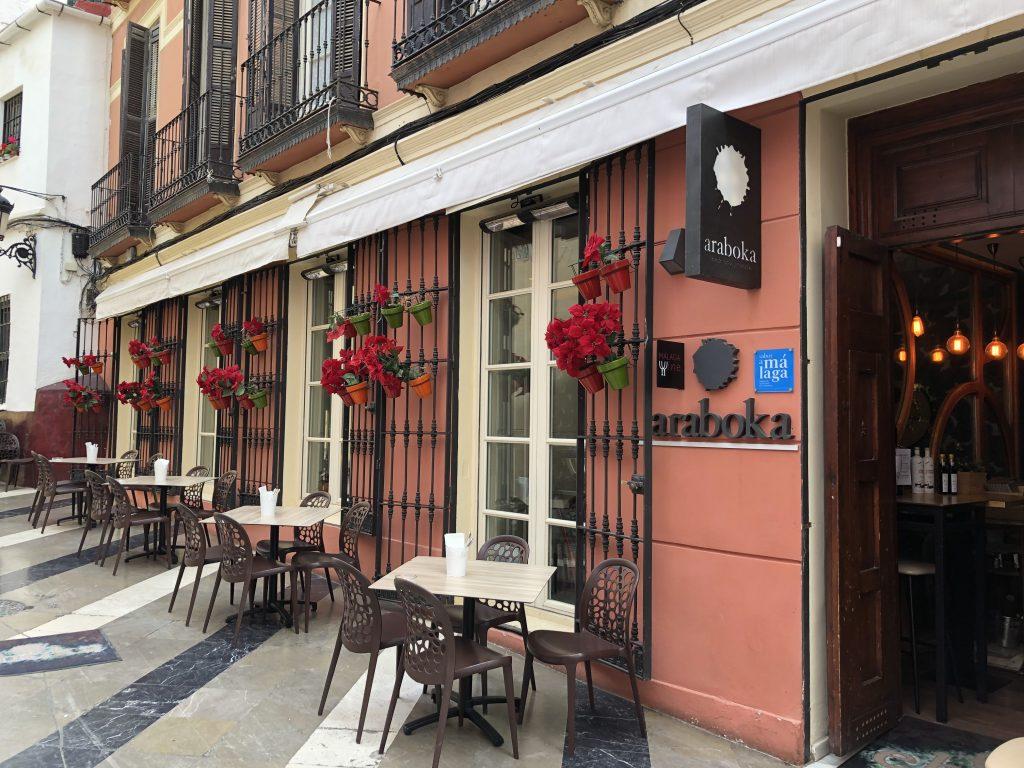 restaurante araboka en el centro histórico de Malaga