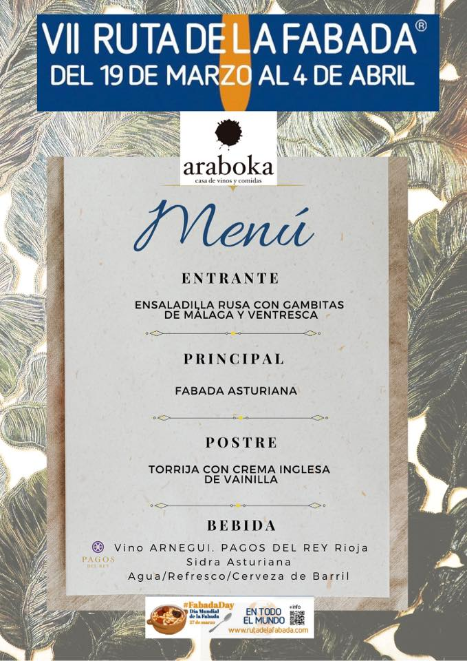 menu ruta de la fabada en araboka restaurante malaga